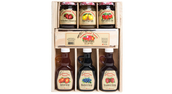 Gift Package #15: 3 - 125 ml Syrups, 3 - 125 ml Jams, 1 - 135 g Candy
