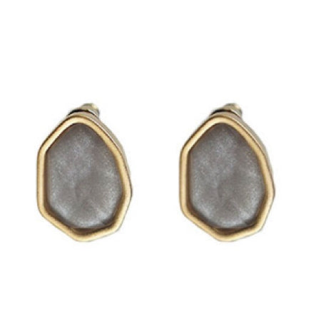 Grey and Gold Nugget Earrings