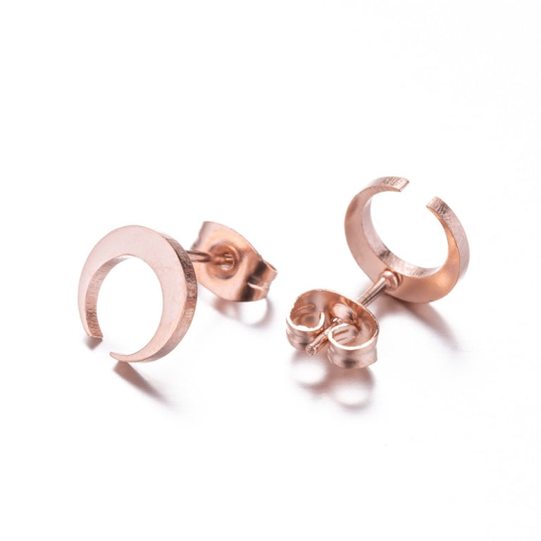Rose Gold Crescent Moon Earrings