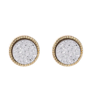 Light Grey Druzy Stud Earrings