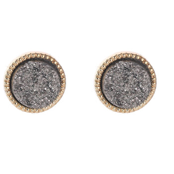 Dark Grey Druzy Stud Earrings