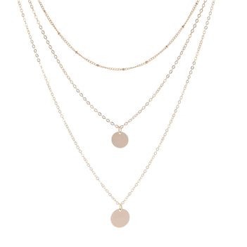 Triple Gold Double Disk Necklace