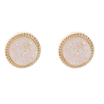 Soft Blush Druzy Stud Earrings