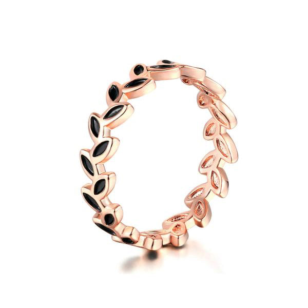 Rose Gold Plated Black Leaf Ring