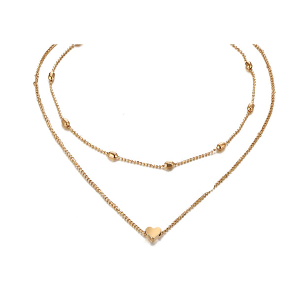 Double Gold Heart Choker Necklace
