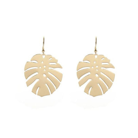 Small Gold Monstera Earrings