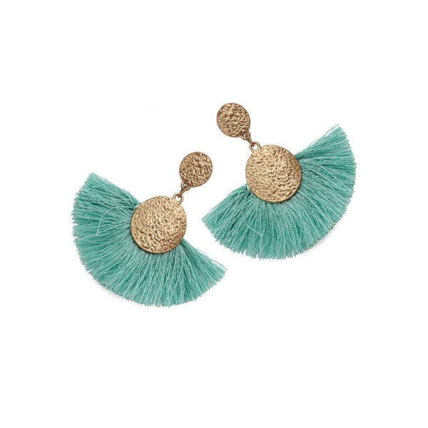 Mint and Gold Statement Earrings