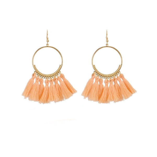 Peach Tassel Gold Hoop Earrings