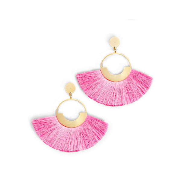 Pink and Golden Circle Fringe Earrings