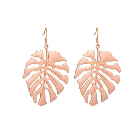 Rose Gold Monstera Earrings