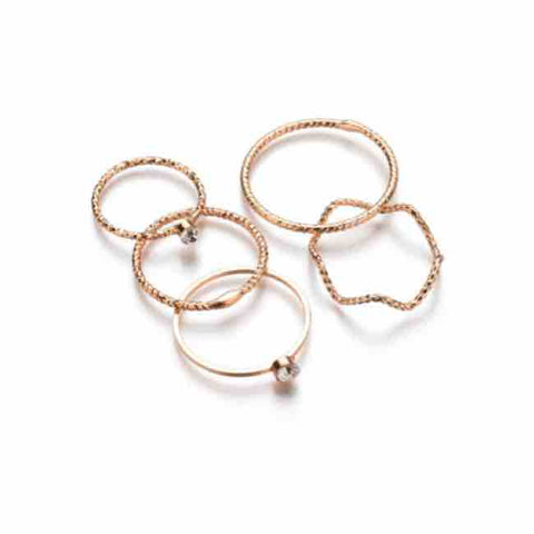 Gold 5 Ring Set