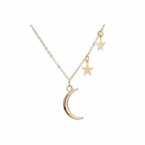 Gold Moon and Stars Necklace