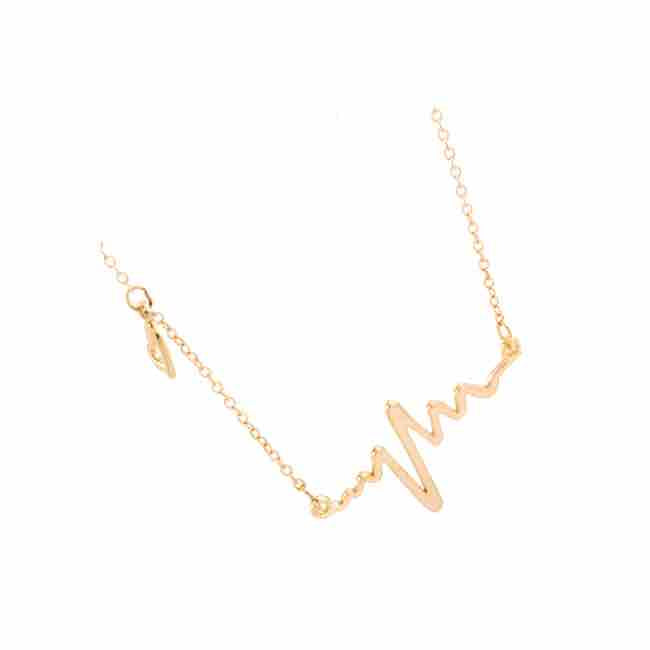 Golden Heart Beat Necklace