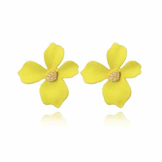 Yellow Flower Stud Earrings
