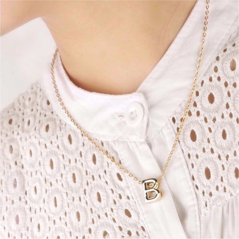 Gold B Pendant Necklace
