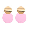 Gold and Pink Circle Earrings