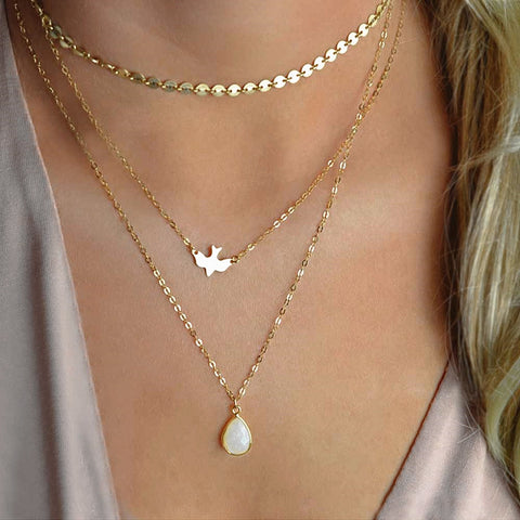 Triple Layer Dove and Pendant Necklace