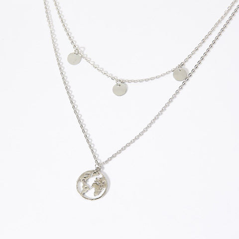 Silver Double World Necklace