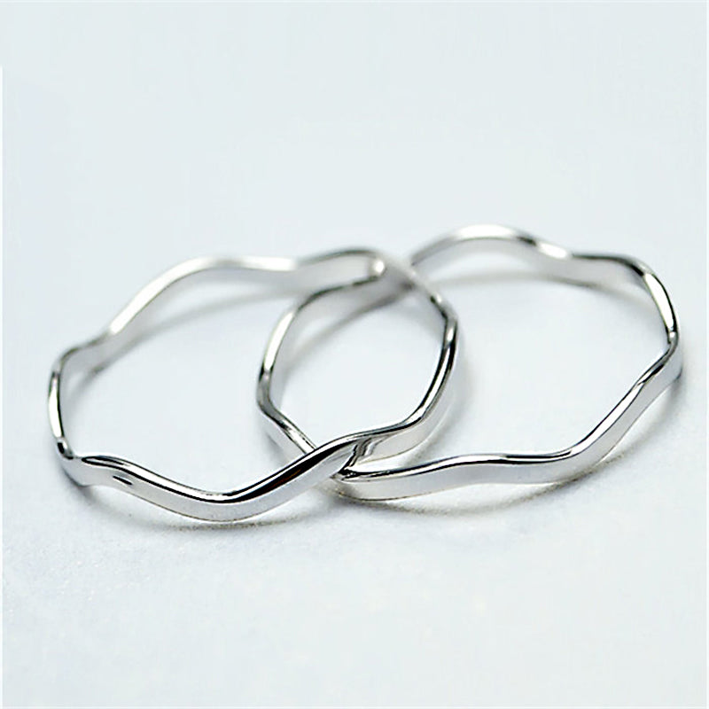 Silver Thin Diagonal Stacking Ring