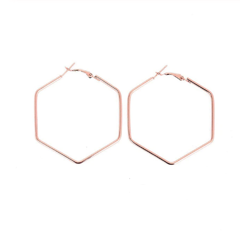 Rose Gold Hexagon Hoops