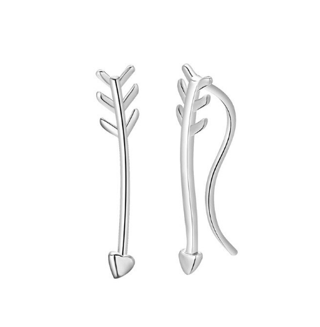 Silver Arrow Climbing Earrings