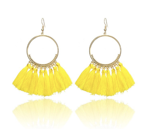 Yellow Tassel Gold Hoop Earrings