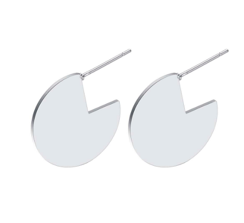 Silver Disk Stud Earrings