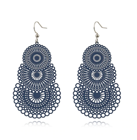 Navy Cut Out Drop Earrings