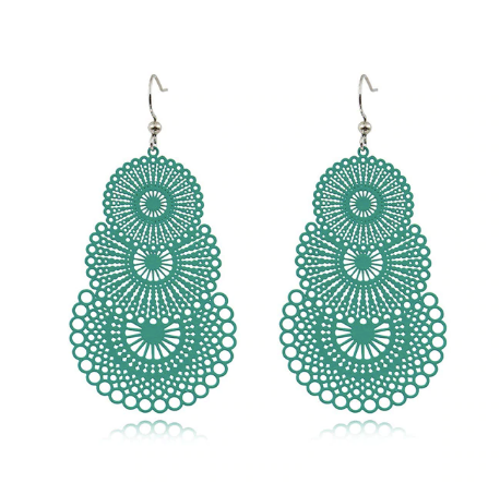 Turquoise Cut Out Drop Earrings