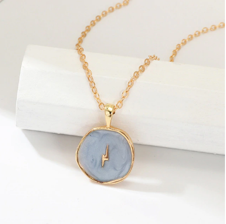 Gold and Blue Pendant Necklace