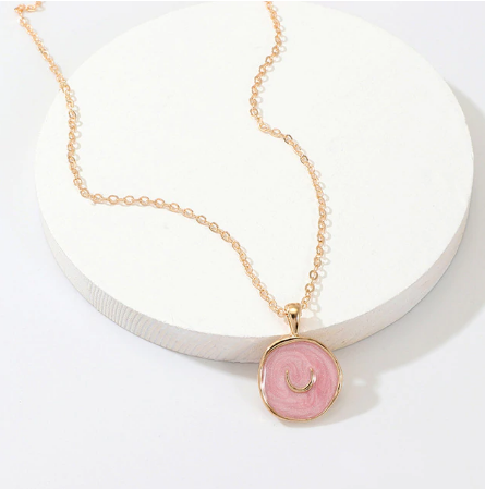 Gold and Pink Pendant Necklace