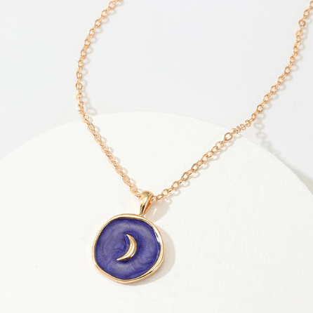Gold and Navy Pendant Necklace