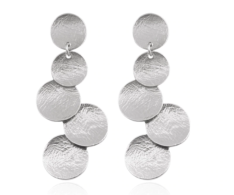 Brushed Silver Circle Earrings