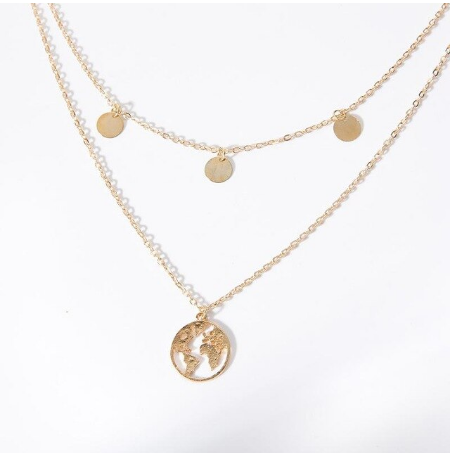 Golden Double World Necklace
