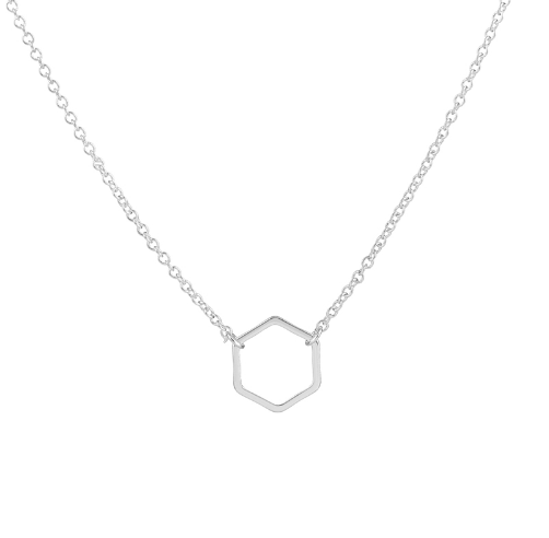 Silver Hexagon Necklace