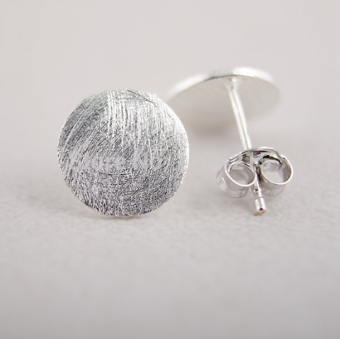 Brushed Silver Circle Studs