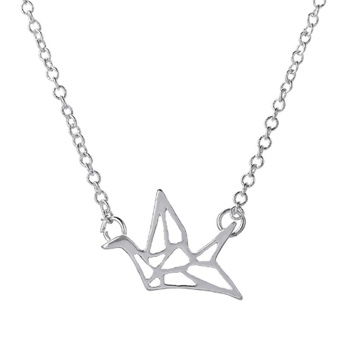 Large Silver Origami Swallow Necklace