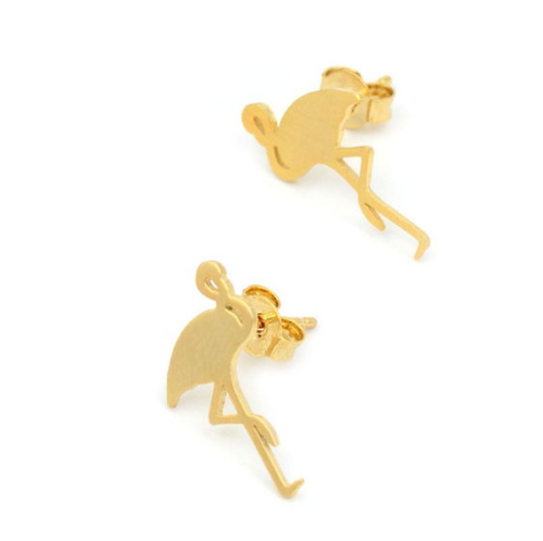 Gold Flamingo Studs