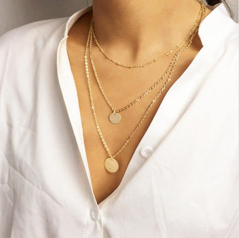 Triple Gold Waterfall Necklace