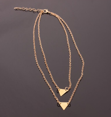 Gold Double Triangle Necklace