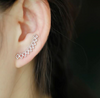 Silver Dainty Triangle Climber Earrings