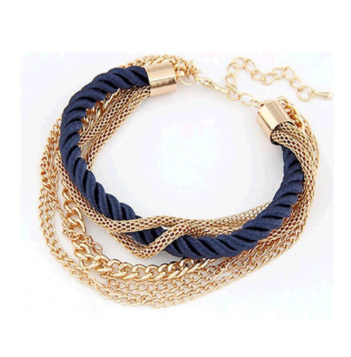 Navy and Gold Rope Bracelet