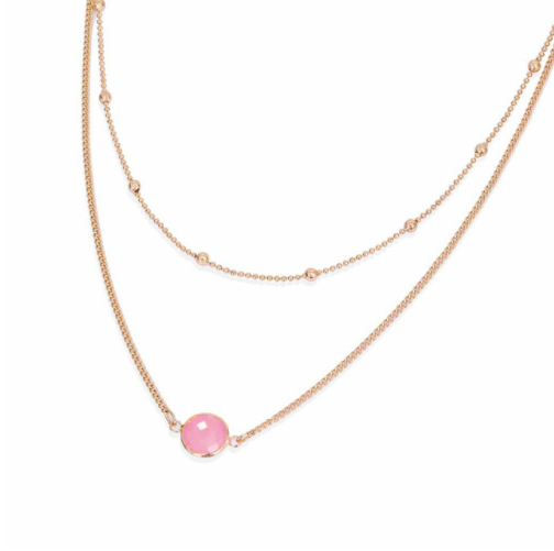Gold Double Necklace with Pink Pendant