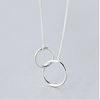 Silver Double Circle Link Necklace