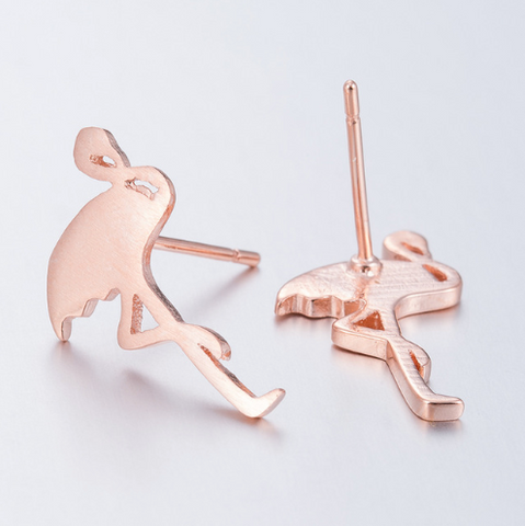 Rose Gold Flamingo Studs