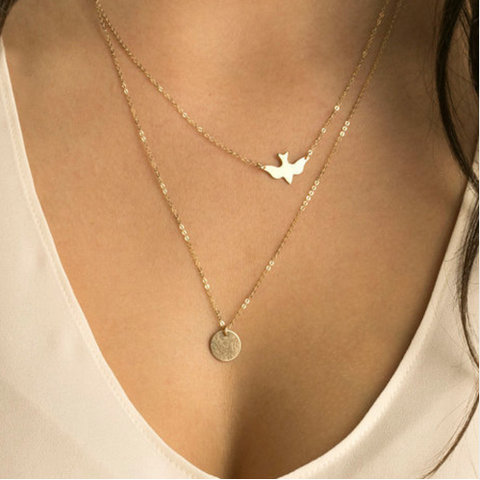 Gold Double Dove and Circle Necklace