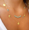 Gold and Turquoise Double String Necklace
