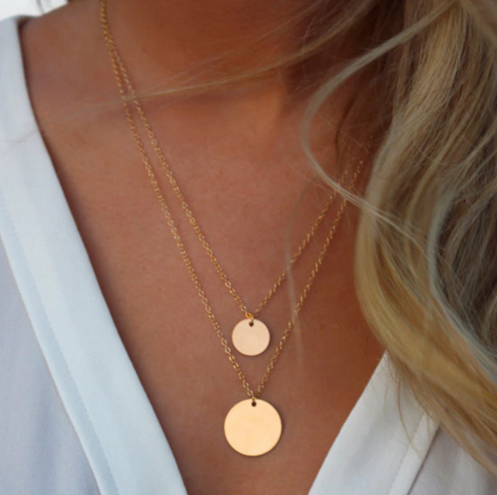 Double Strand Gold Necklace with Large Circle Pendants