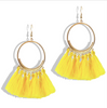 Yellow Tassel Silver Hoop Earrings