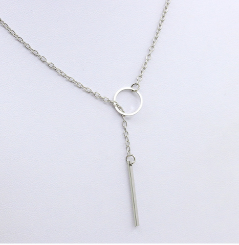 Silver Bar and Circle Drop Necklace